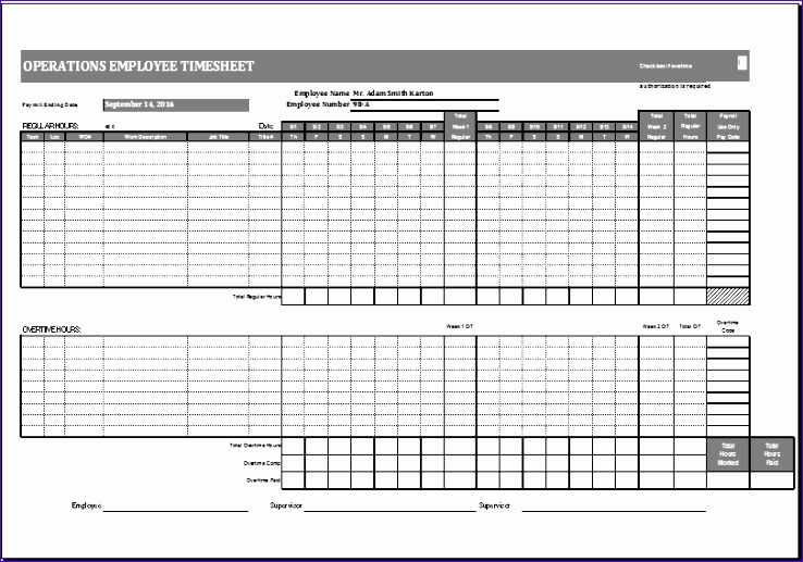 operations employee timesheet