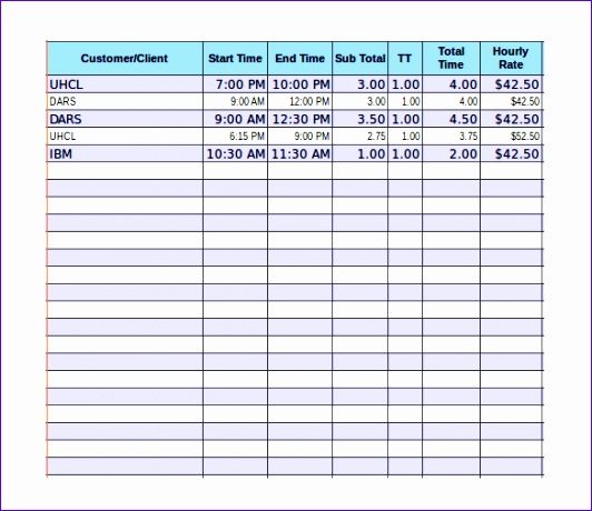 Timesheet Invoice Template Download in Excel