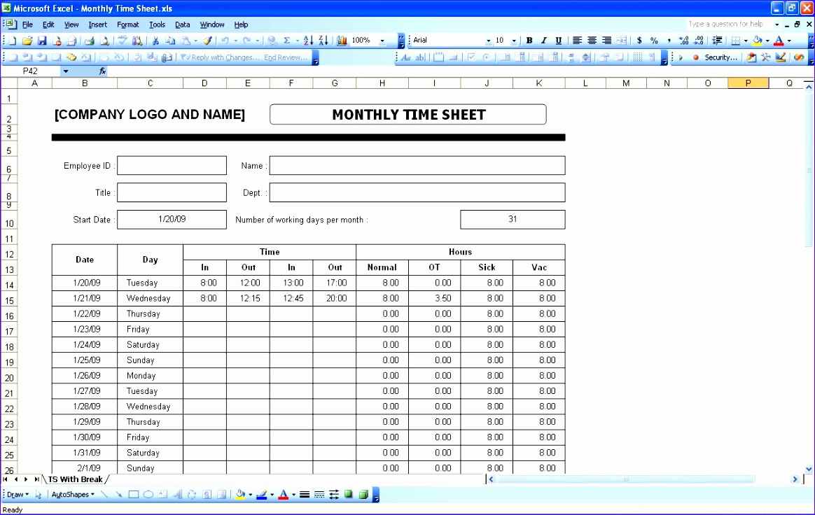 8 timesheet template excel 2010 exceltemplates for Daily timesheet template excel 2010