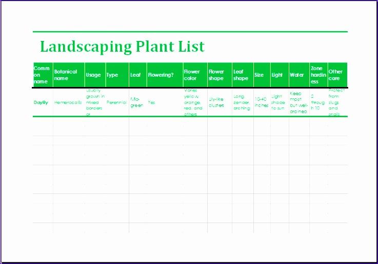 landscaping plant list