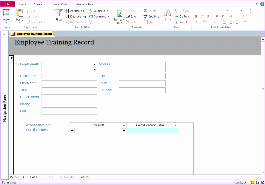 10 training database template excel