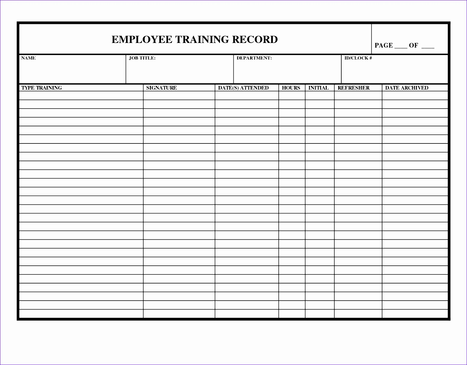 7 training record template in excel