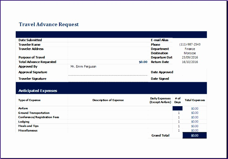 travel advance request form