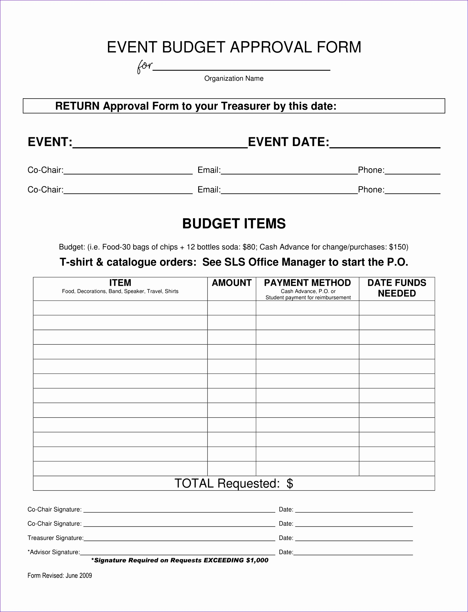Event Bud Approval Form 1