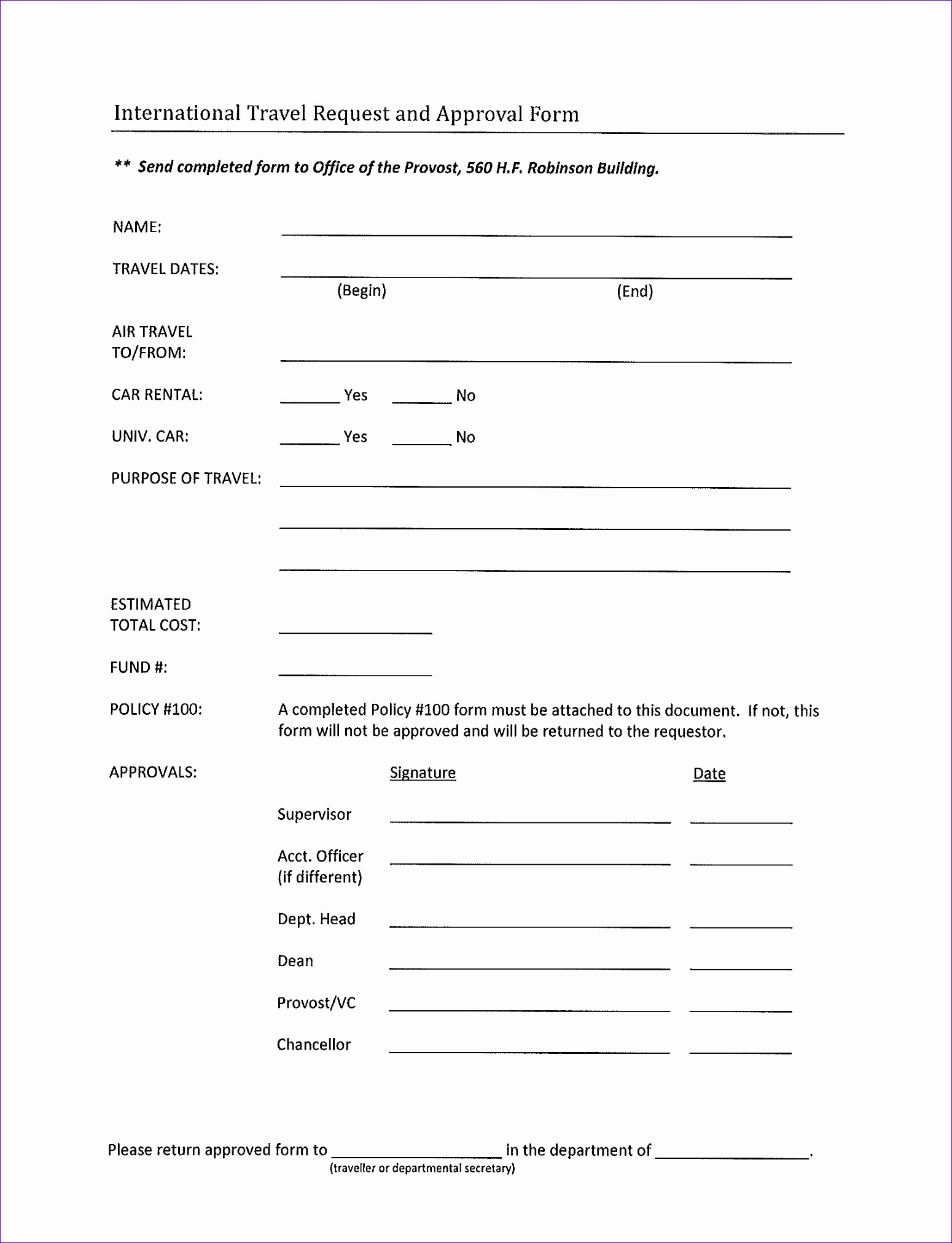 International Travel Request Approval Form 1