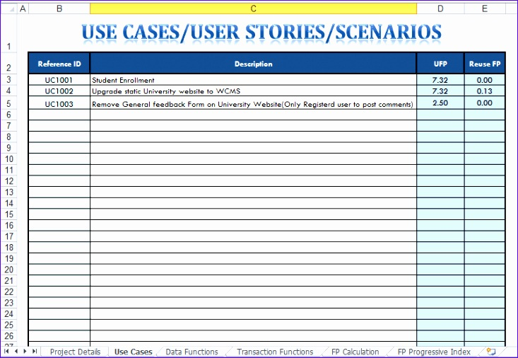 ... Use Case Template Excel E7npl. UseCases