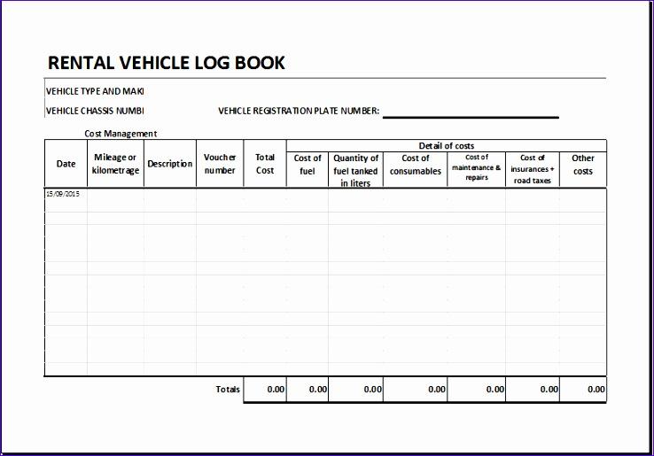 Rental vehicle log book 1