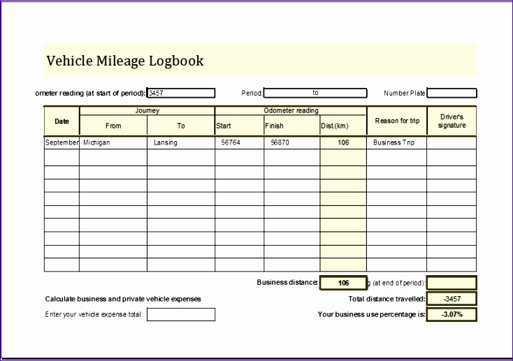 Vehicle Mileage Logbook