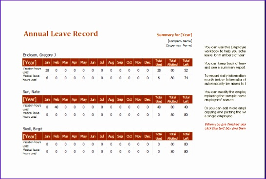 employee annual leave record 600x400