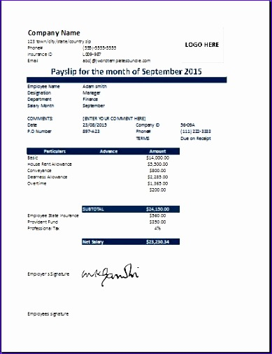 Wage Slip Template Excel  Exceltemplates  Exceltemplates