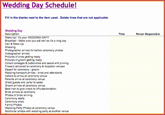free wedding schedule template
