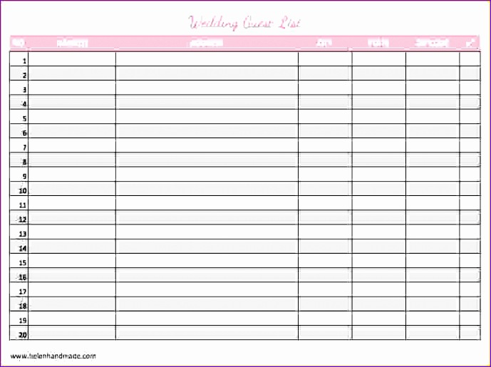 wedding list template wedding guest list template1