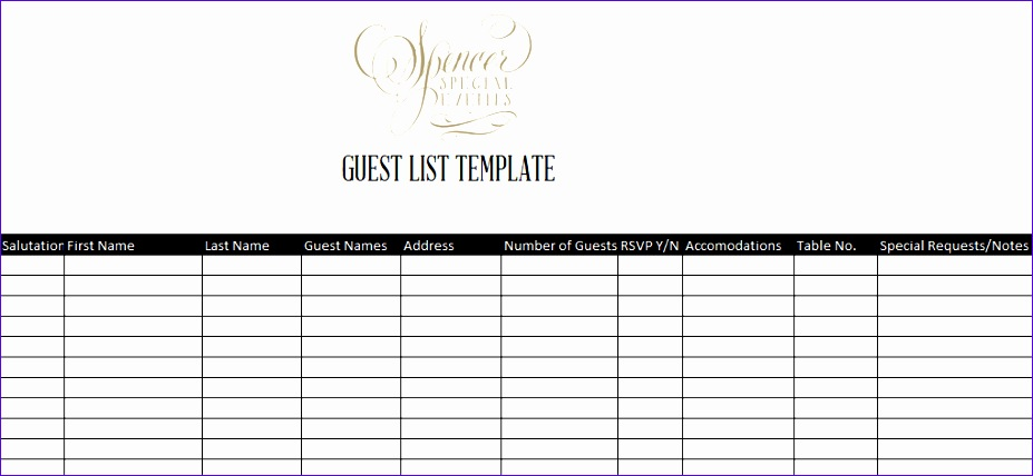 Wedding Guest List Template Excel Download Ntpga Best Of 7 Guest List Templates Excel Pdf formats