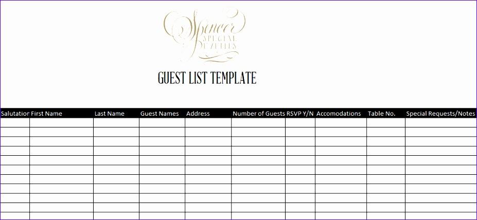 guest list template 55