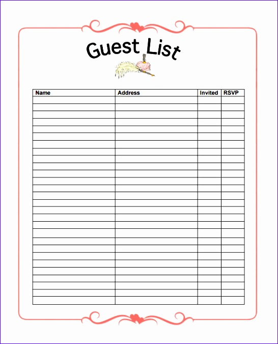Wedding Guest List Template Excel Download U6kyd Luxury Guestlist Sample Guest List Download Your Free Ultimate Kids