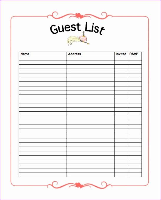 Wedding Guest List Template Excel Download U6kyd Luxury Guestlist Sample Guest List Download Your Free Ultimate Kids