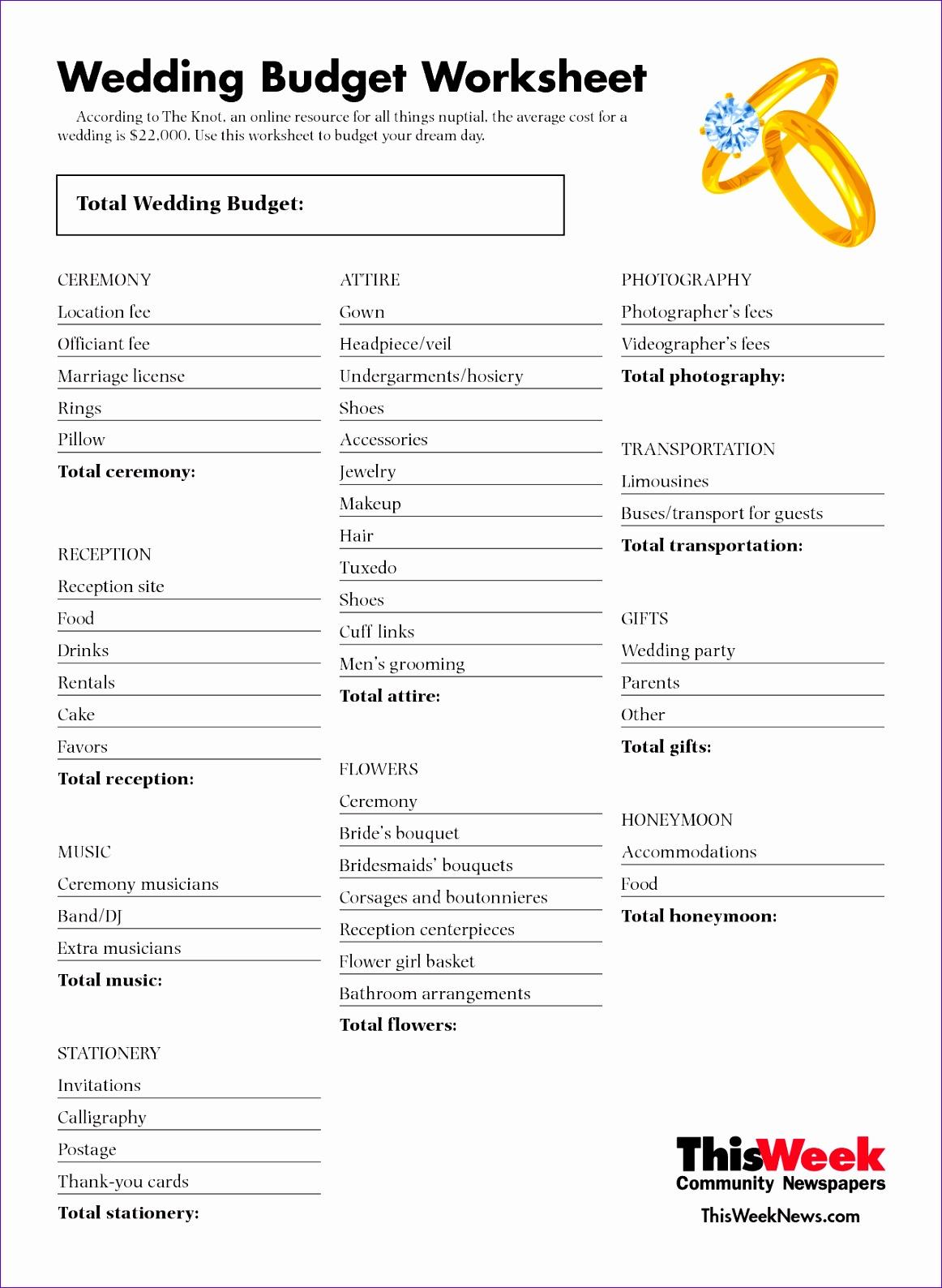 wedding bud worksheet