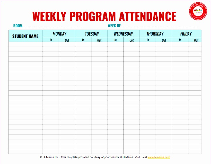 Weekly attendance Sheet Template Excel Gzjgp Luxury Si