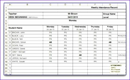 Weekly attendance Sheet Template Excel J5gho Inspirational Weekly attendance Sheet
