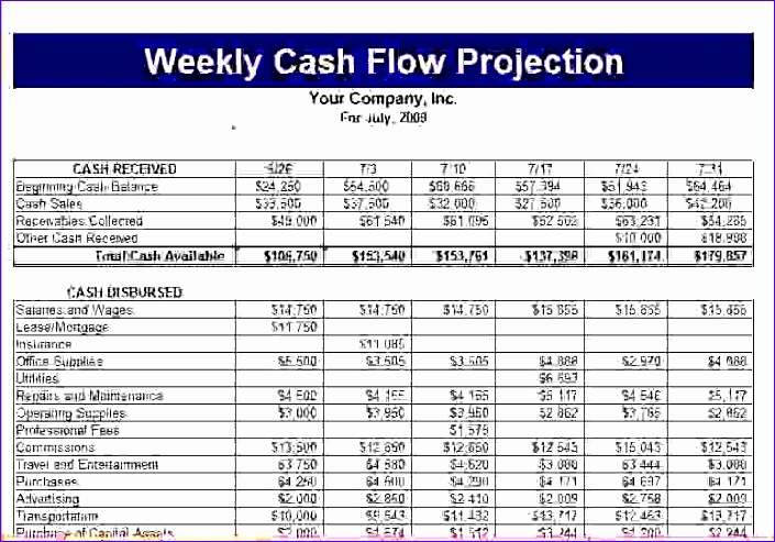 5 cash flow projection template procedure template sample within weekly cash flow projection template