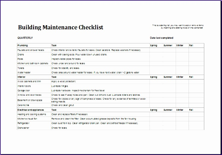 Weekly Clean Up Spreadsheet Shksp Ideas Building Maintenance Checklist Template