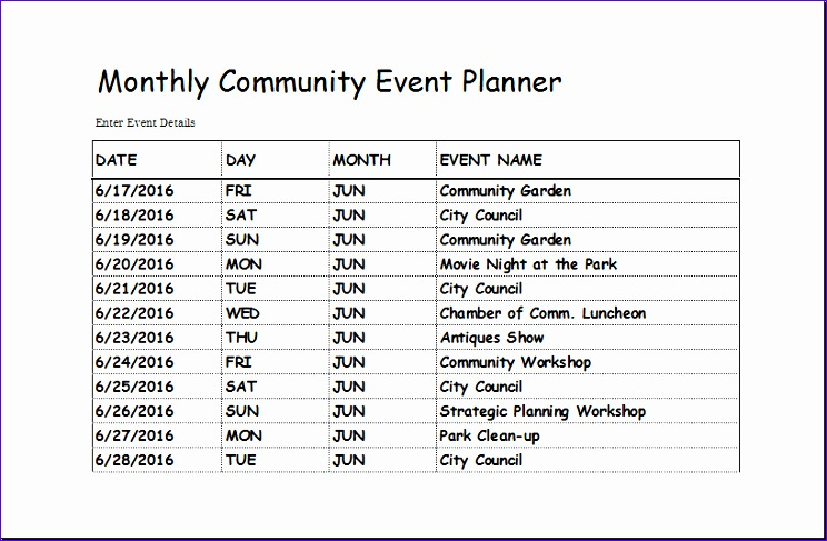 Weekly Clean Up Spreadsheet Sqkke New Munity event Planner Template for Excel