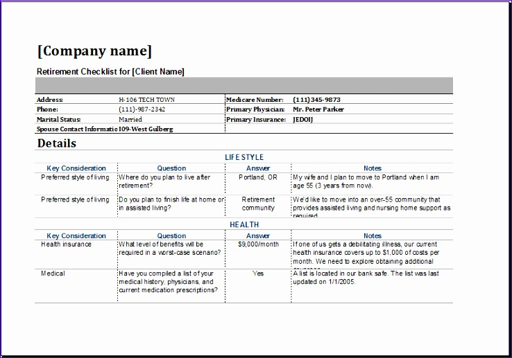 retirement checklist template