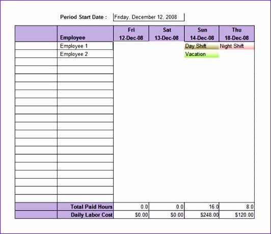 Download Employee Weekly Shift Schedule Template Excel Format
