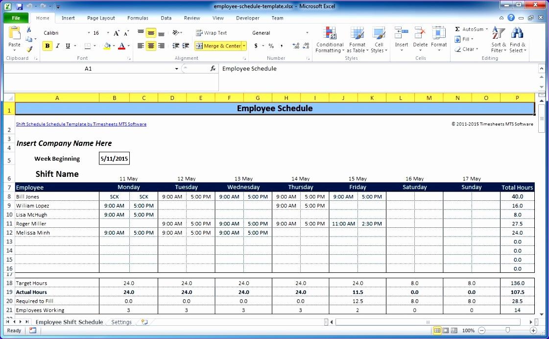 excel employee schedule template