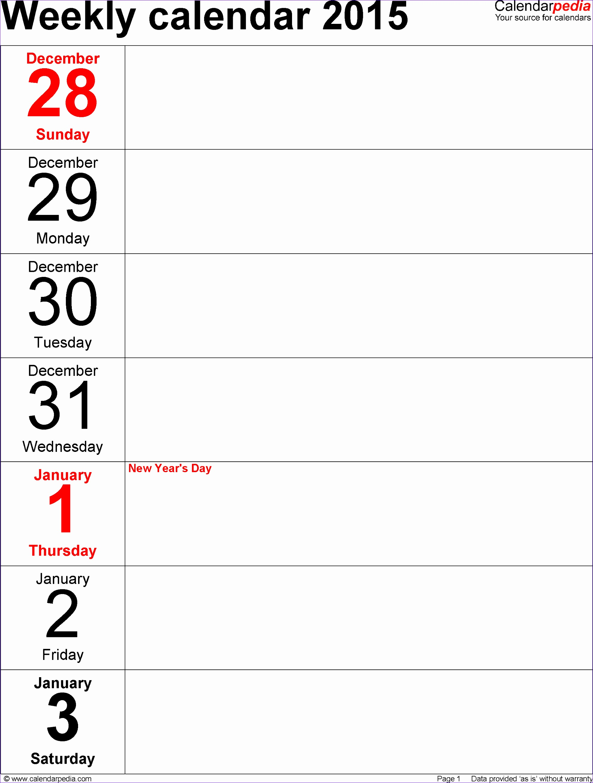 weekly calendar 2015 template
