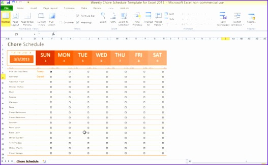 weekly to do list template excel weekly chore schedule template for excel 2013 2 580x355 PinKGQ