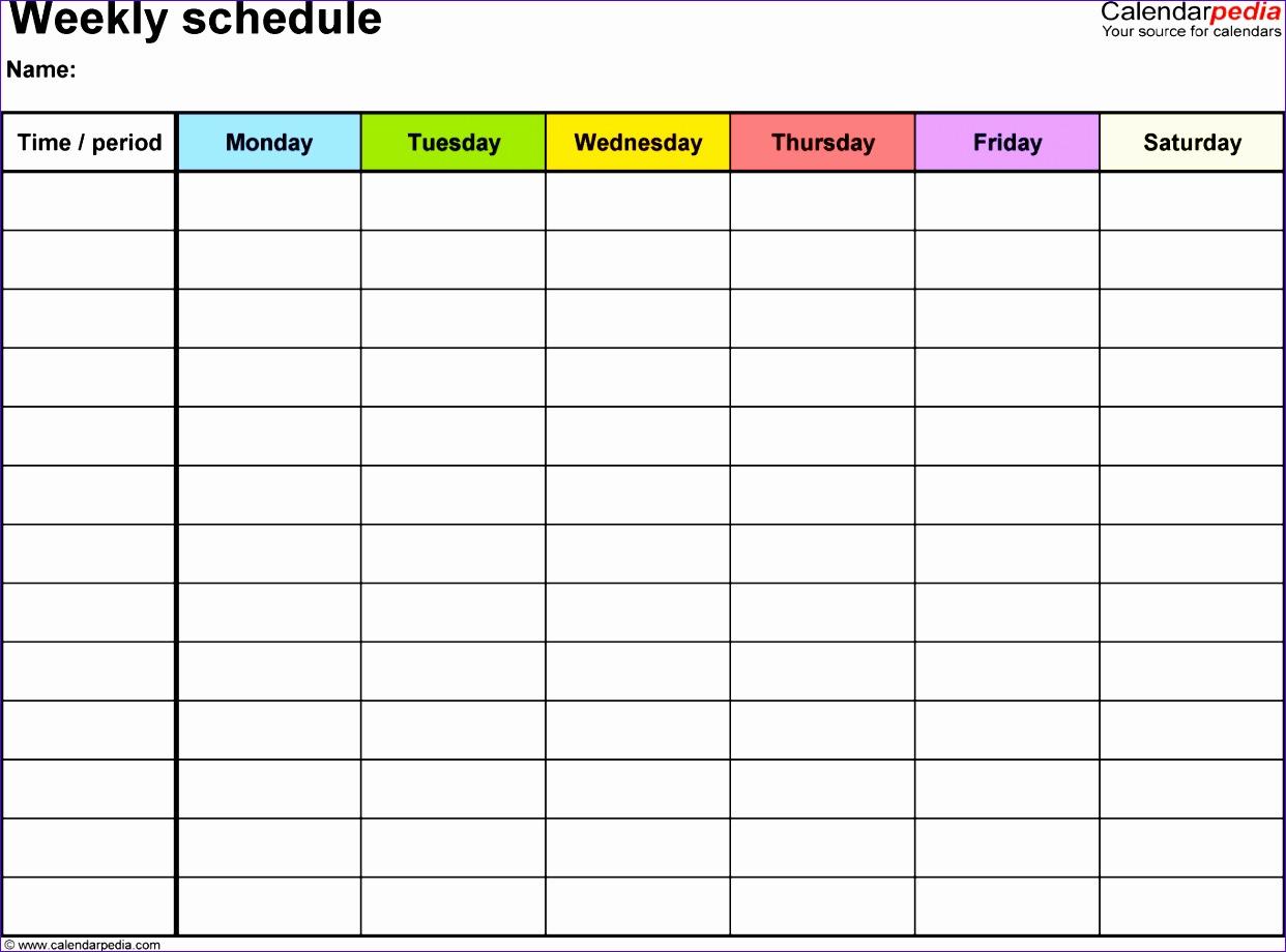 weekly schedule excel