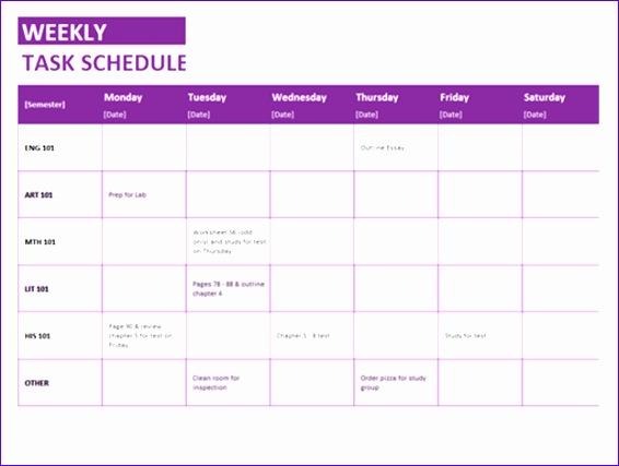 Microsoft Weekly Task List Excel XLS Template