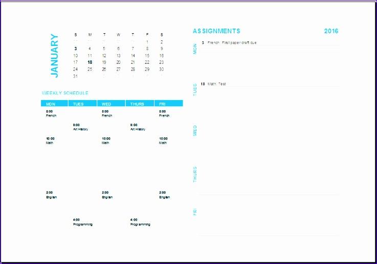weekly task planning calendar