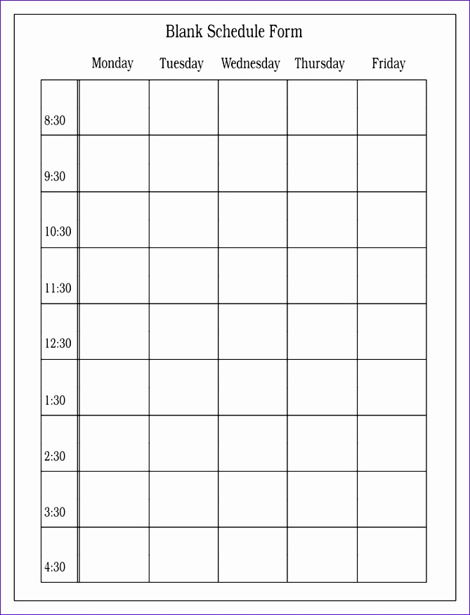 8 weekly time schedule template excel exceltemplates