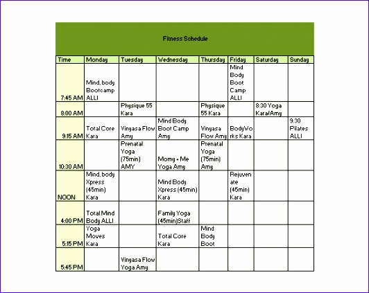 Fitness Workout Schedule Template Free Download Example