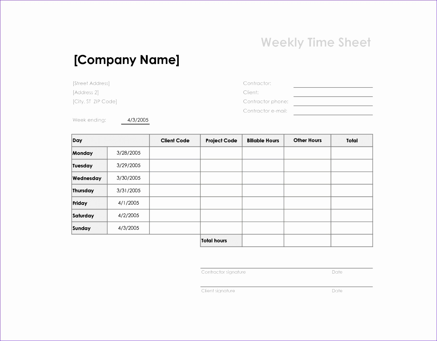 weekly time sheets templates