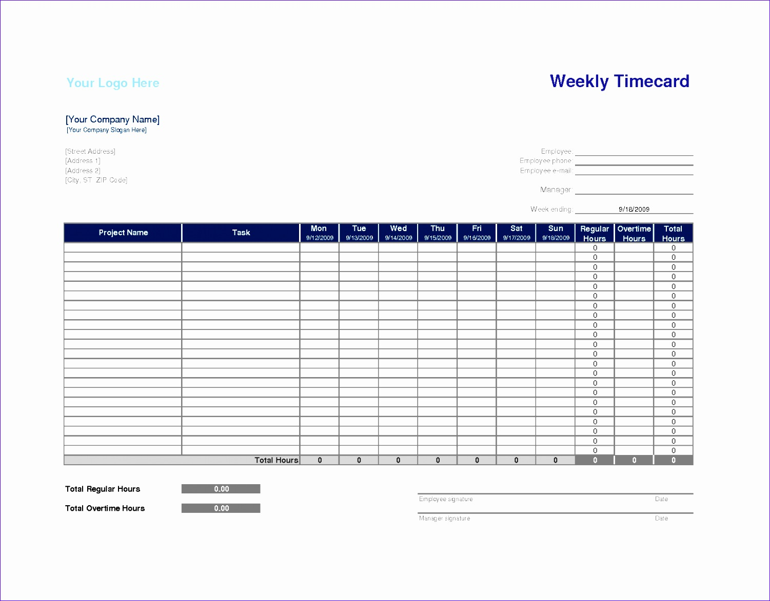 free weekly time card template