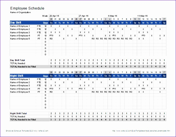 Work Roster Template Excel Wtuue Luxury Free Employee Shift Schedule Template for Excel