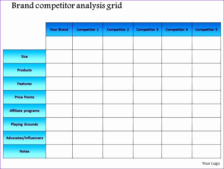 0714 brand petitor analysis grid powerpoint presentation slide template