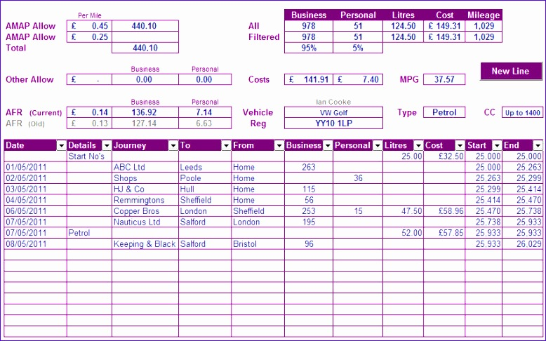 car mileage log template p 35 778486