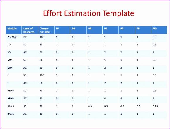 Effort Estimation Template Excel Jhlxn New Sap Overview for Managers 638479
