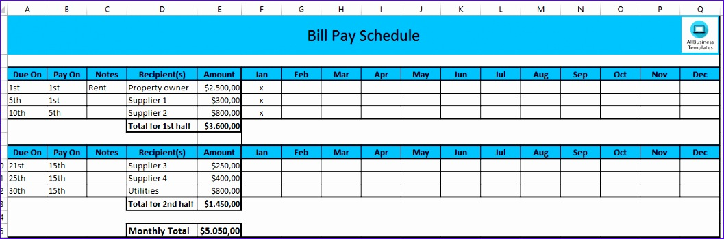 monthly payment schedule in excel 1057349