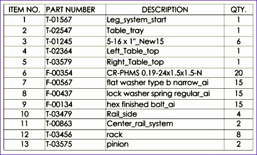 available tables solidworks drawings