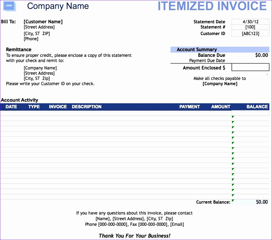 itemized invoice template 3362 11501013