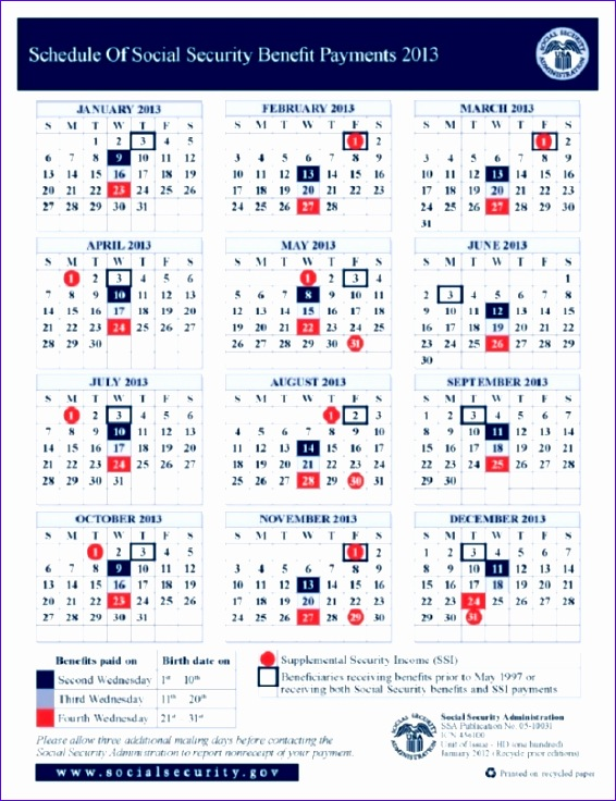 schedule of social security payments 2016 calendar 566736