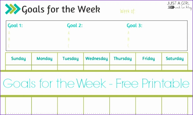 weekly goals printable free printable 618368