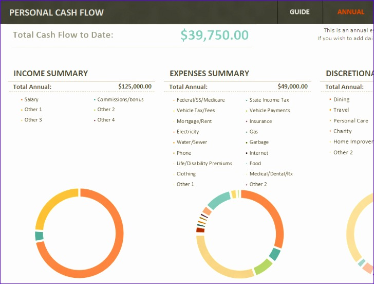 Simple personal cash flow statement TM 728552