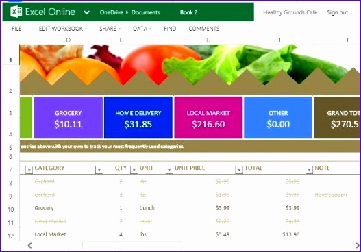 grocery bud template excel online 527368