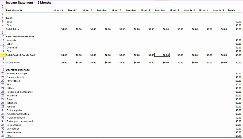 in e statement template for excel